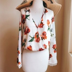 Floral Cropped Top with Bell Lace Sleeve